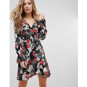 Oh My Love Tie Waist Wrap Dress In Floral Print - Multi