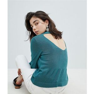 Pieces Knit Jumper With V Neck Back - Green