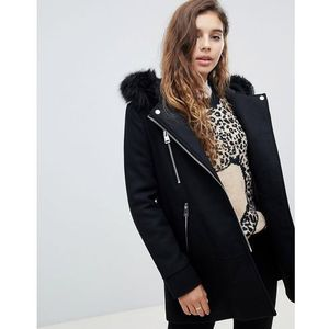 faux fur hooded zip front jacket - black marki Pimkie