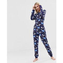 lounge astrology button onesie - navy marki Asos design