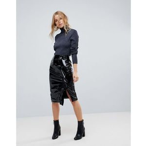 gathered vinyl midi skirt - black marki Miss selfridge