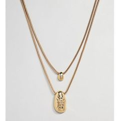 ASOS DESIGN Curve Gold Plated Fluid Shape And Crushed Metal Multirow Necklace - Gold