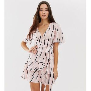 Boohoo wrap dress with ruffle trim in pink with abstract print - Multi