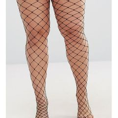 oversized fishnet tights - black, Asos curve