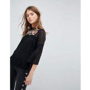 embroidered dobby mesh top - black, Pimkie