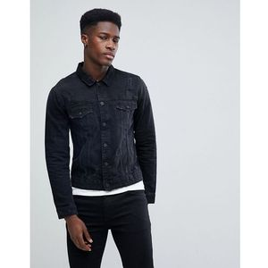 Only & sons denim jacket with distressing - black