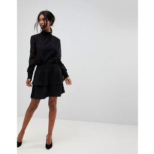 B.young sheer stripe ruffle skirt - black