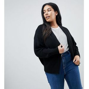 ASOS DESIGN Curve eco chunky cardigan with volume sleeve - Black