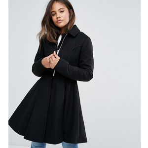 swing coat with full skirt and zip front - black marki Asos tall