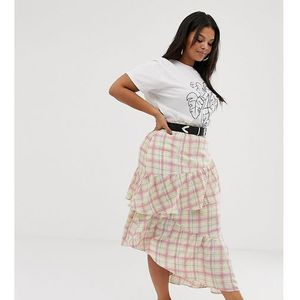 Glamorous curve midi skirt with ruffle in grid check - White