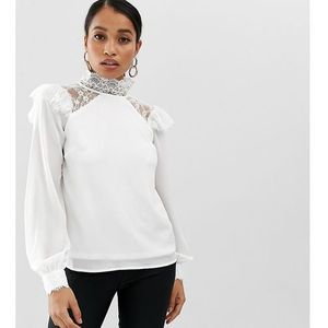 Fashion Union Petite high neck long sleeve top with lace detail - White, kolor biały