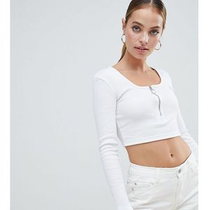 Missguided Petite zip front crop top in white - White