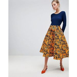 midi dress with contrast printed skirt - multi, Traffic people, 34-42