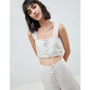ASOS WHITE Linen Co-ord Crop Top - Cream, kolor beżowy