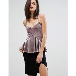 Club L Cami Strap Top with Soft Peplum - Brown