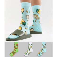 socks with citrus fruit design 3 pack - multi marki Asos design