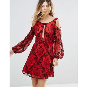 Free people want to want me embroidered flared sleeve dress - red