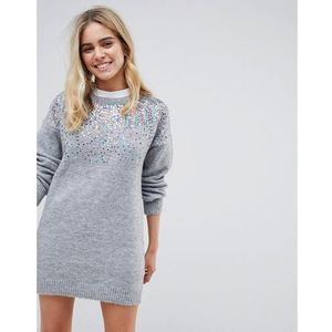 Wild flower multi colour sequin front jumper - grey
