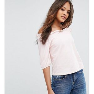 Asos tall top with off shoulder and balloon sleeve - pink
