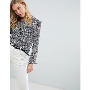 sheer print blouse with lace up front - grey marki Maison scotch