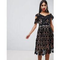 Adelyn Rae Whitney One Shoulder Lace Dress - Black