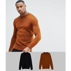 Asos 2 pack knitted muscle fit polo in tan/black save - multi, Asos design, XXS-M