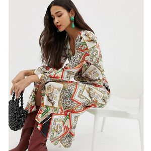 v neck chain print maxi in multi - multi marki Stradivarius