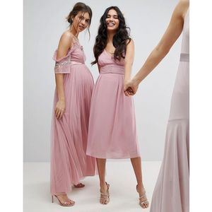 Tfnc wrap front midi bridesmaid dress with tie back - pink
