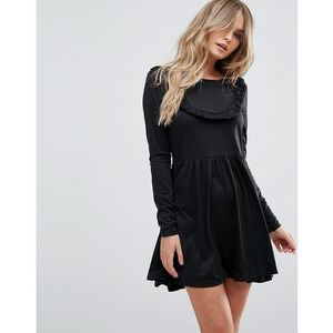 Brave soul tippie skater dress with frill bib - black