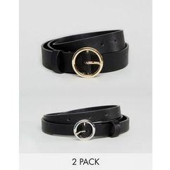 ASOS 2 Pack Circle Buckle Waist & Hip Belts - Black