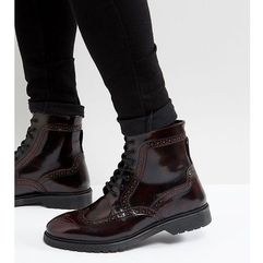 wide fit lace up brogue boots in burgundy leather with ribbed sole - red marki Asos design