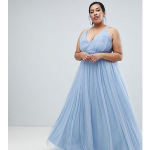 Asos curve Asos premium curve tulle maxi prom dress with ribbon ties - blue