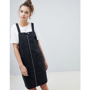 Only zip through denim pini dress - Black, kolor czarny