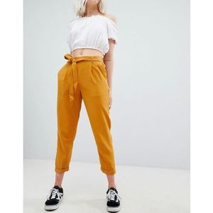 Pull&Bear tie waist tapered trouser in mustard - Yellow