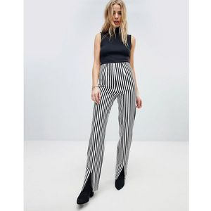 trouser with front splits in pinstripe - black, Honey punch