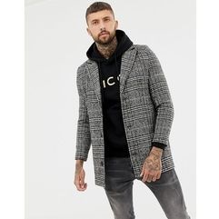 boohooMAN overcoat in grey check - Grey