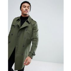 shower resistant double breasted trench in khaki - green marki Asos design
