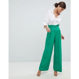wide leg paperbag trousers - green, Missguided
