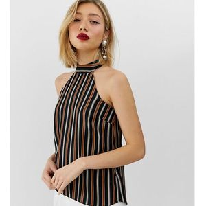 halter neck top with tie detail in stripe - multi, River island petite