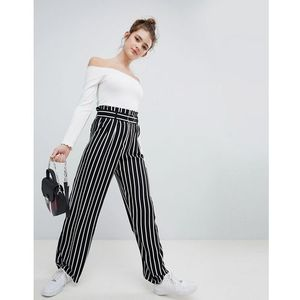 Bershka wide leg trouser with tie waist in multi stripe - Multi