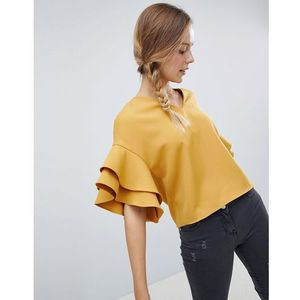 top with frill sleeve detail - yellow marki Parisian