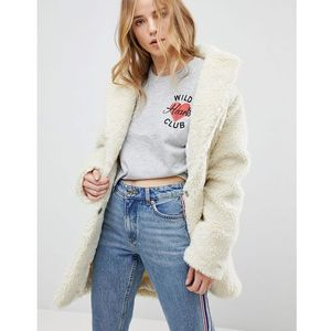 teddy bear coat - cream, New look