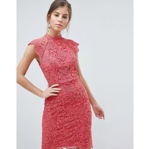 Chi Chi London Scallop Lace Pencil Dress - Pink