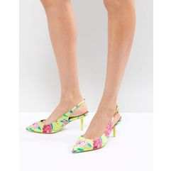ALDO Kitten Heel Sling Back Shoe in Bright Yellow Floral - Green