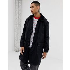 Asos design longline trench in black - black