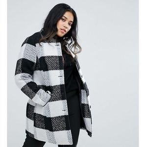 collarless check coat with pocket detail - multi marki Junarose