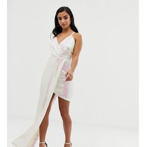 TFNC Petite super mini dress with asymmetric hem in white iridescent - White