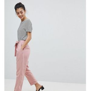 woven peg trousers with obi tie - pink marki Asos petite