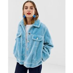 2ndday faux fur trucker jacket - blue, 2nd day
