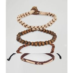ASOS DESIGN bracelet pack with beads and rope in brown - Brown, kolor brązowy
